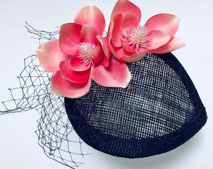 Tea Party Fascinator, Pink and Black Hawaiian Fascinator, Garden Party Small Hat, Petite Fascinator