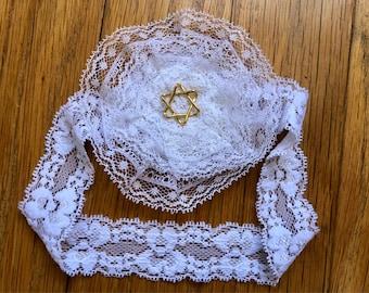 White Lace Baby Yarmulke, Baby Naming Kippah, Jewish Baby Girl