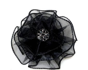 Black Flower Brooch, Black Magnetic Corsage, Fabric Flower Magnetic Brooch by Vintage Blooms By Ellen