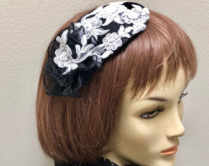 Black and White Small Hat,  Black Church Hat, Black and White Fascinator