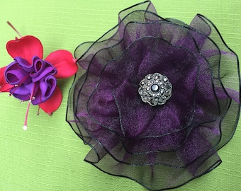 Purple Fabric Flower Magnetic Brooch, Magnetic Jewelry