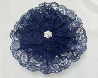 Navy Blue Lace Head Covering, Catholic Lace Veil, Navy Church Hat, Lace Doily