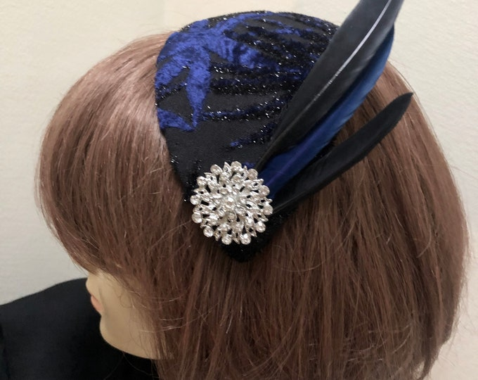 Black and Navy Fascinator, Retro Cocktail Hat