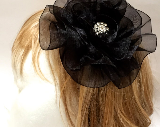 Black Flower Fascinator, Fabric Flower Hair Clip, Large Black Flower