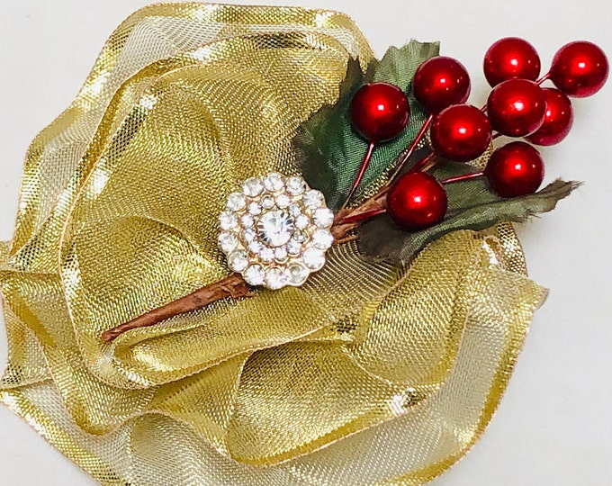 Metallic Gold Mother's Day Brooch, Gold and Red Christmas Pin, Xmas Magnetic Brooch