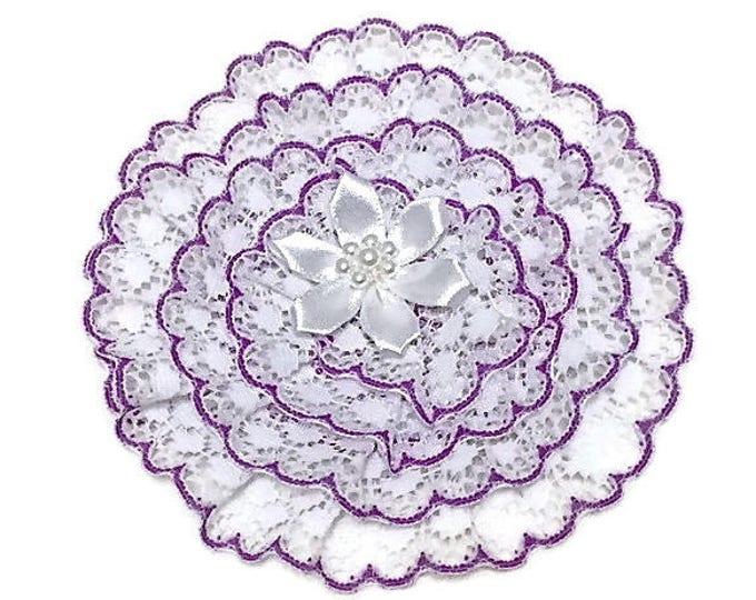 Purple Lace Kippah for Women and Girls, White and Purple Yarmulke,