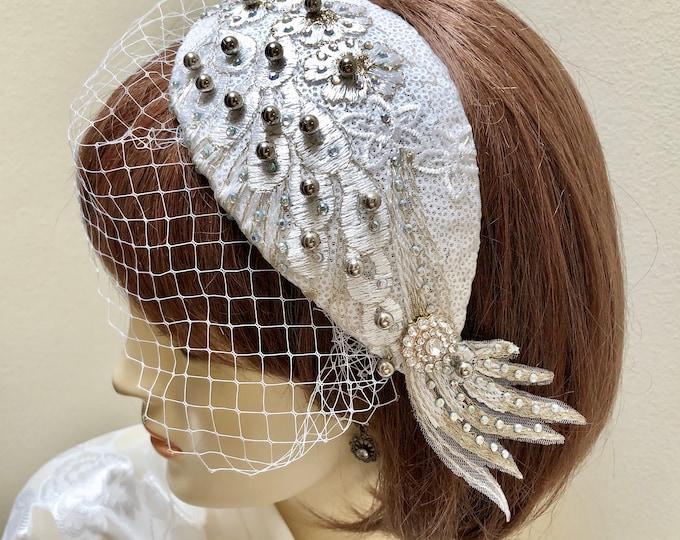 White Bridal Fascinator, Small Wedding Hat, Juliet Cap and Veil