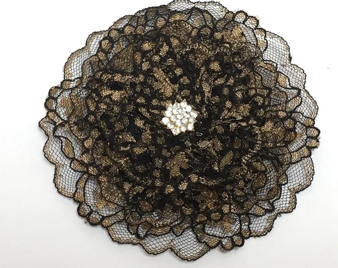 Black and Gold Lace Kippah, Black Lace Yarmulke, Jewish Head Covering