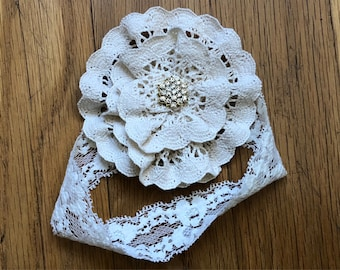 Baby Kippah Handmade From Ivory Crochet Lace for a Jewish Baby Girl Naming
