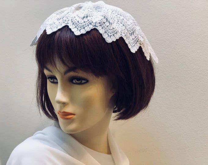 Ivory Lace Chapel Cap, Women's Lace Head Covering