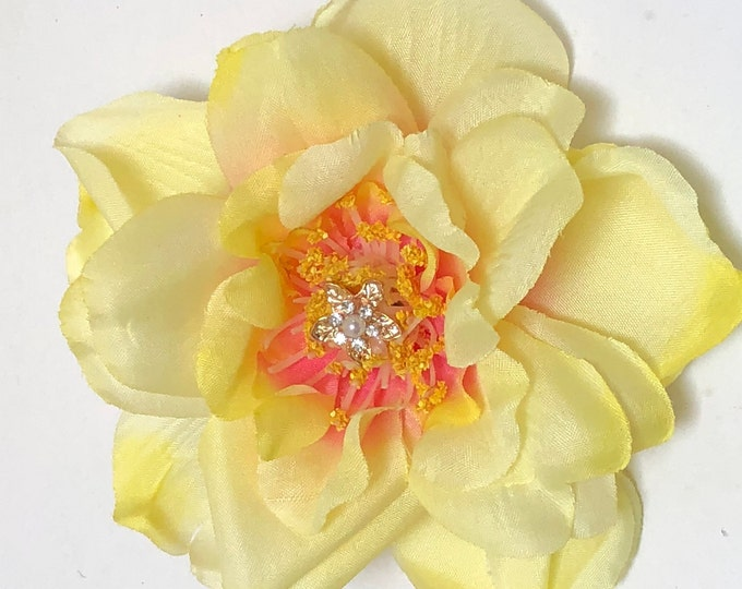 Yellow Rose Brooch, Yellow Fabric Flower Corsage, Magnet Rose Pin