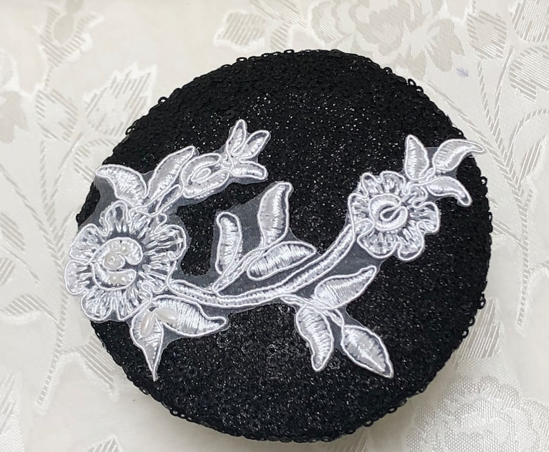 Sequin Jewish Head Covering Black and White Kippah Woman/'s Sequin Kippot