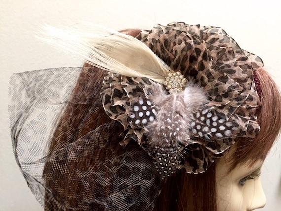 00100831febe7 Leopard Fascinator Kentucky Derby Hat Animal Print Hat