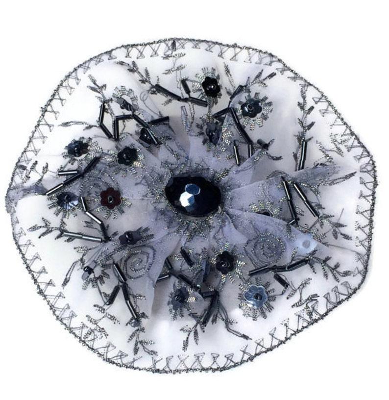 Beaded Silver Kippah Beaded Yarmulke Womens Kippot Silver Smokey black bead