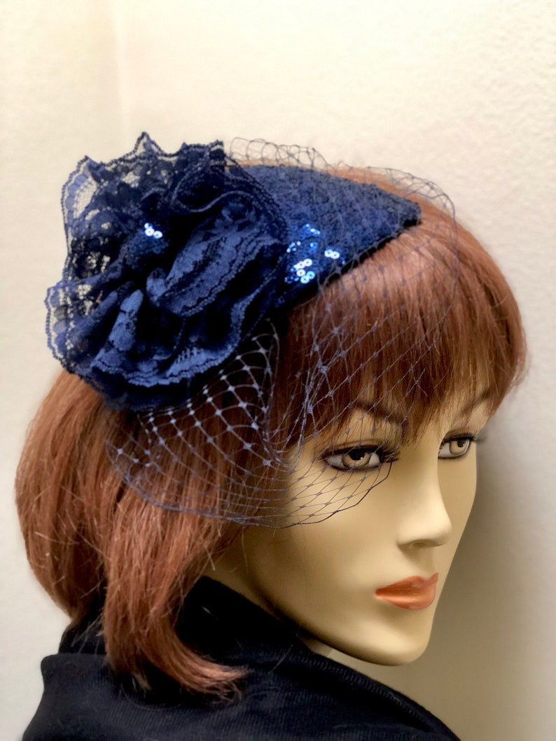 Navy Blue Fascinator Mother of the Bride Small Hat Navy  6765349d3e3