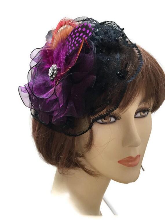 Black and Purple Fascinator Lace Headpiece Plum Fascinator  7d689b7b7e2