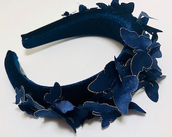 Navy Padded Headband, Butterfly Crown, Navy Alice Band