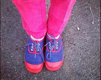 1970's Child's Blue and Red Rubber Toe Sneakers