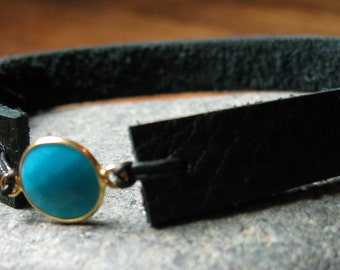 Turquoise Disc Leather Bracelet