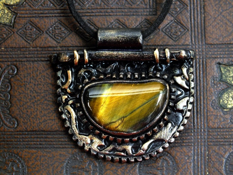 Pendant Necklace Tiger Eye Polymer Clay