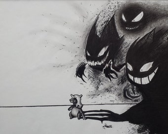 Custom charcoal drawings -pokemon- 11 x 17