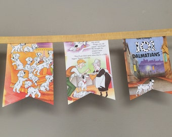 Vintage storybook BANNER 101 Dalmations made from actual book pages for party or baby nursery bedroom decor for sale by Estate ReDesign