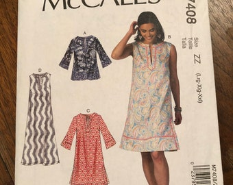 McCalls Dress Pattern M7408 Size ZZ (Lrg-Xlg-Xxl), new, never opened never used, coastal beach style long or short A-Line dress or top