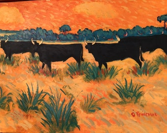 Mid Century Oil painting of 4 Bulls by Gil Froidevaux, Swiss artist, framed, Georges.
