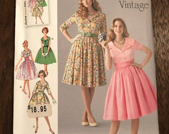 Simplicity Dress Pattern 1459 K5, full skirt dress, 1950s Vintage