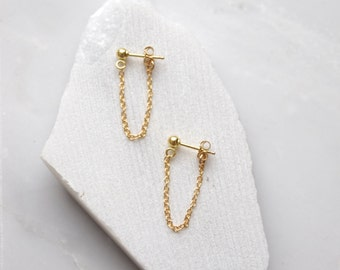 Gold Dangle Earrings, Gold Chain Earrings, Gold Drop Earrings, Chain Drop Earrings