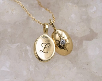 NEW! Engraved Initial Necklace, Oval Initial Necklace, Script Initial Necklace