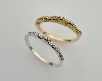 Mountain Wedding Ring, Nature Wedding Ring, Nature Engagement Ring, Nature Diamond Ring, Mountain Engagement Ring (Low Version)