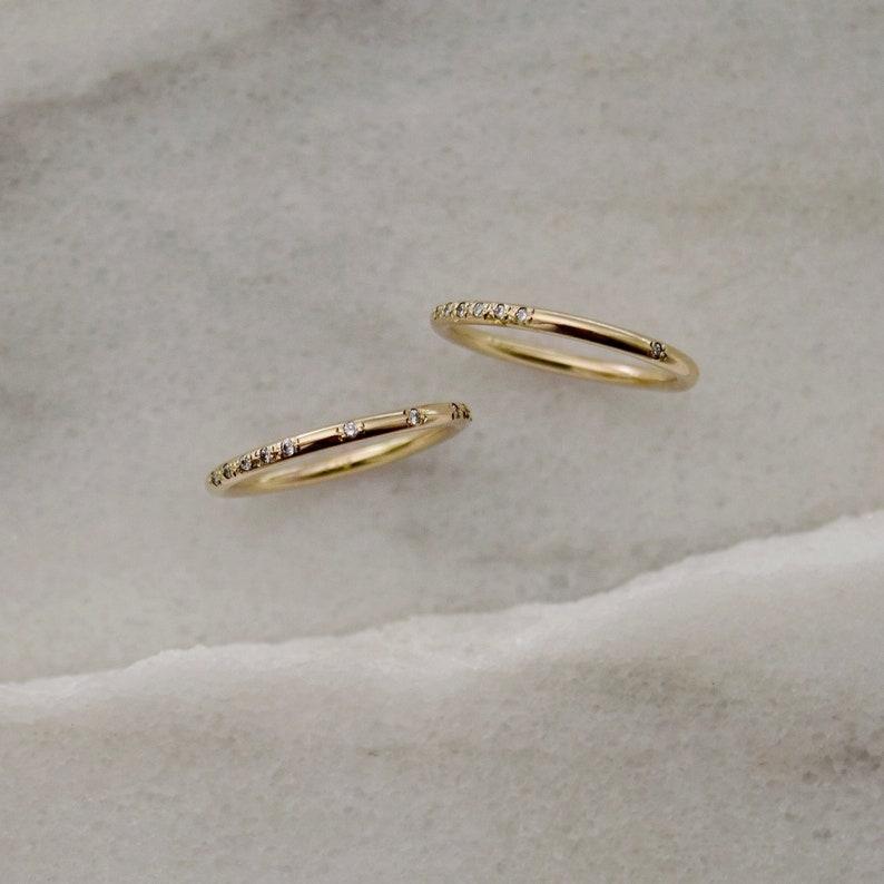 Morse Code Ring Diamond Gold Band Personalized Wedding Band image 0