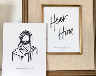 PRINTABLE Hear Him & Jesus Christ Sketch General Conference 2020 Russell M Nelson Hand Drawn #hearhim