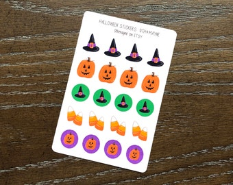 Halloween Witch Trick or Treat Sticker Sheet Planner Fun Stationery Bullet Journaling Hand Drawn