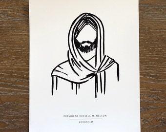ART PRINT Jesus Christ Line Art Hand Drawn Hear Him 8x10