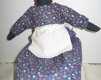 Black AA Cloth Doll Calico Blue Dress Apron Primitive Eyes Only