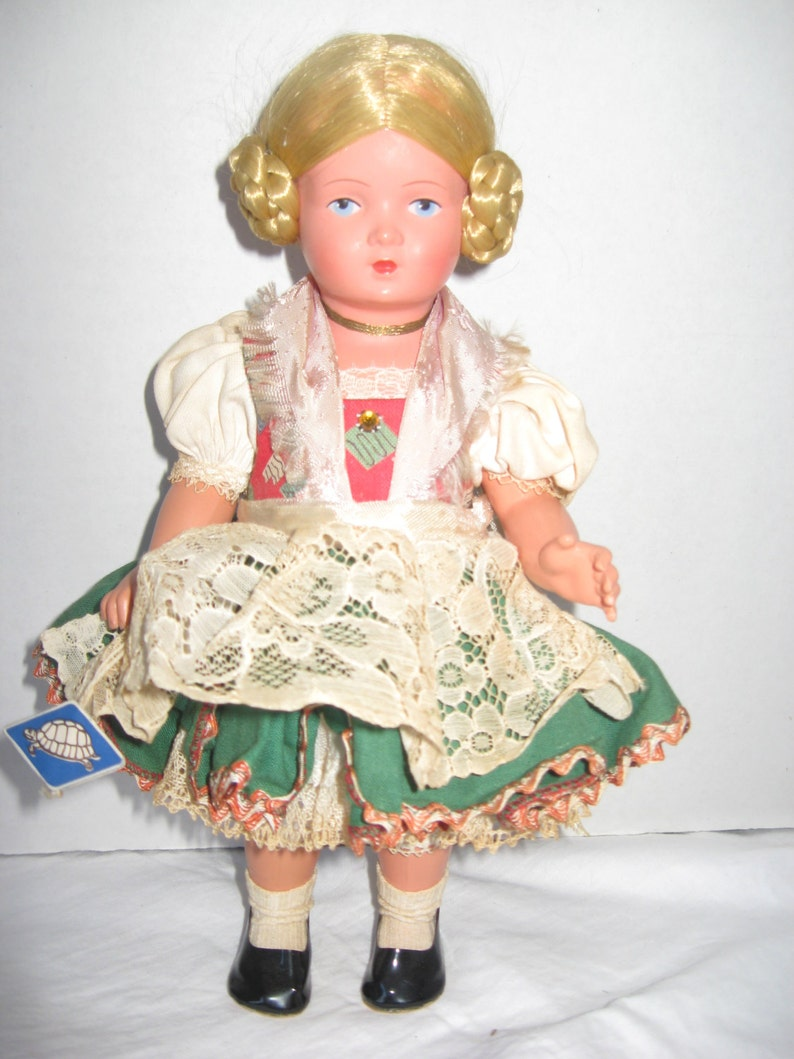 Schildrot Turtle Mark Celluloid German Doll Blonde Side Braids image 0