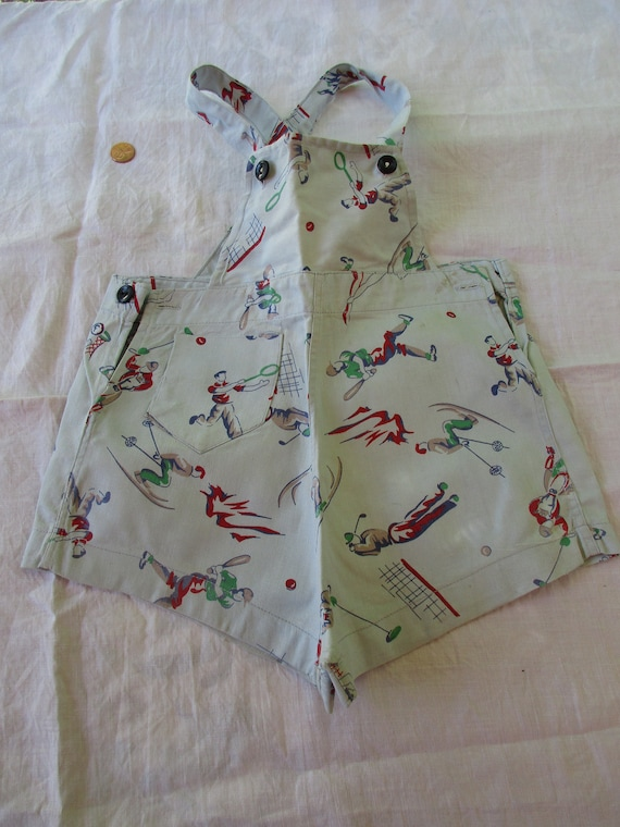 Boys Shorts w Bib Romper Vintage 40's w Sports Mot