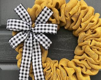 Toile de jute petit couronne, couronne de porte toile de jute jaune, petite porte une couronne, Vichy, jaune noir, mignon des couronnes, petites couronnes de porte, cadeau pour elle