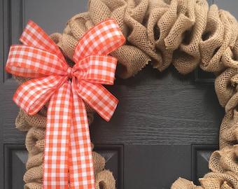 Burlap Wreaths, Gingham, Burlap Door Wreath, Fun Gifts, Cute Wreaths, Gift for Her, Burlap Door Decor, Gift Ideas, Orange Gingham