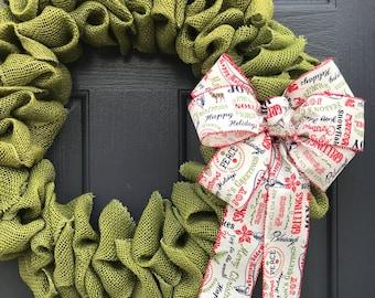 Green Burlap Christmas Wreath, Burlap Door Wreath, Green Wreath, Holiday Decor, Burlap Decorating, Christmas Wreaths, Burlap Door Wreaths