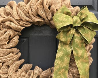 Burlap Christmas Wreaths, Natural Burlap Wreath, Green Bow, Holiday Decor, Gift for Her, Holiday Decorating, Fun Wreaths, Door Wreaths