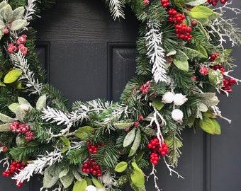 Winter Christmas Wreath Berry Wreaths Winter Door Wreath Red White Wreath White Berries Snowy Wreath Winter Gift Ideas January Wreath Gift