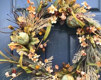 Couronnes de l'automne, automne porte une couronne, couronnes de porte d'entrée pour l'automne, décor d'automne, couronne de Thanksgiving, automne Decor, Decor de porte d'entrée, porte d'automne