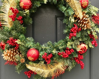 Red and Gold Wreaths, Red and Gold Door Wreath, Christmas Wreaths, Holiday Wreaths, Door Wreaths Holiday, Gold Wreaths for Door, Gift Ideas