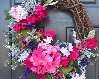 Printemps hortensia Couronne, couronnes de printemps, printemps porte couronnes, Decor de porte, Hortensia couronnes, rose porte une couronne, hortensias roses, cadeau pour elle