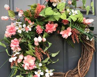 Couronne de Pâques, couronnes de porte printemps, Pâques porte une couronne, couronne de rose, corail, cadeau pour elle, fête des mères, l'été porte couronnes de printemps