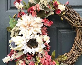 Couronnes de l'automne, automne porte Decor, automne, décoration, couronne de porte d'entrée, couronnes d'automne pour porte, rose, cadeau de pendaison de crémaillère, cadeau pour elle, décor d'automne