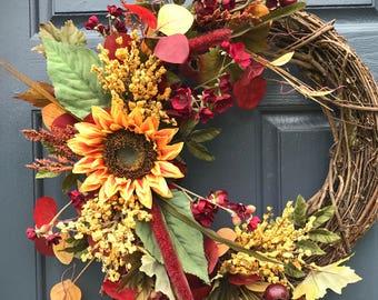 D'automne automne couronnes, couronne de tournesol, automne porte une couronne, couronnes de porte d'entrée, Decor tournesol, couronnes d'automne à la porte, décoration, pendaison de crémaillère